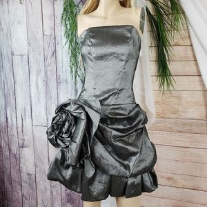 Silver Strapless Evening Party Dress Side Ruching